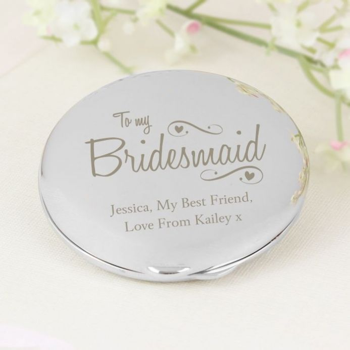 Personalised Bridesmaid Hearts & Swirls Compact Mirror | Personalised Gifts - The Present Season